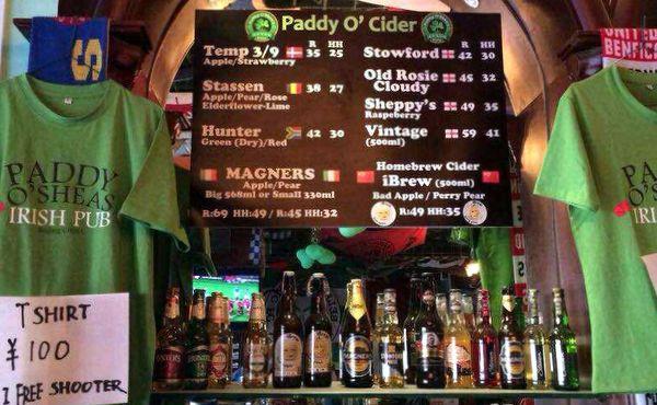 Irish English Danish German South Africa China cider at Paddy O'Shea's Beijing.jpg