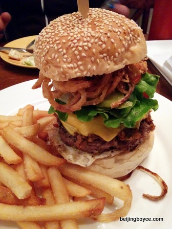 2015 Comfort Foods Beijing China Burger at XL Bar and Restaurant