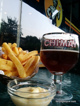 Happy hour fun with Chimay Red -- rmb25 -- and Belgian fries at Beer Mania.