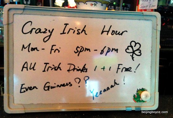 Crazy Irish Hour at Paddy O'Shea's in Beijing